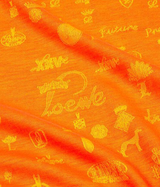 LOEWE 140X140 スカーフロゴマニア オレンジ all