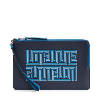 LOEWE Pouch Doble Plana Maze Azul Medianoche/Azul Fluor front