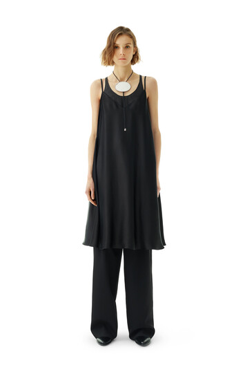 LOEWE Satin Double Layer Dress Black front