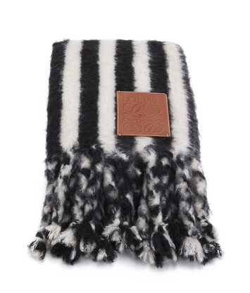 LOEWE 125X180 Mohair Scarf Stripes White/Black front