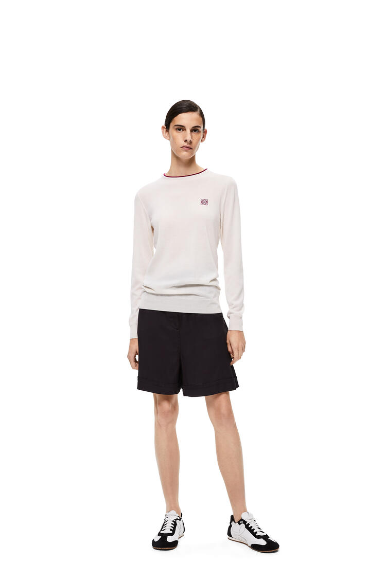 LOEWE Anagram Embroidered Sweater In Cashmere And Cotton Ecru pdp_rd