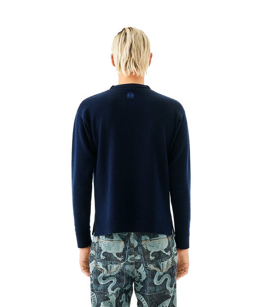 LOEWE Sweater Patch Pocket Dodo Navy Blue front