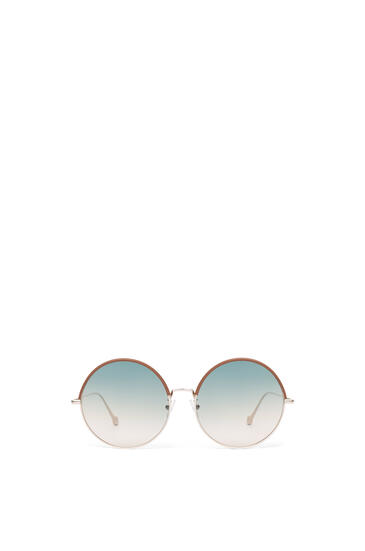 LOEWE Round Sunglasses in metal and calfskin Brown/Gradient Sand pdp_rd