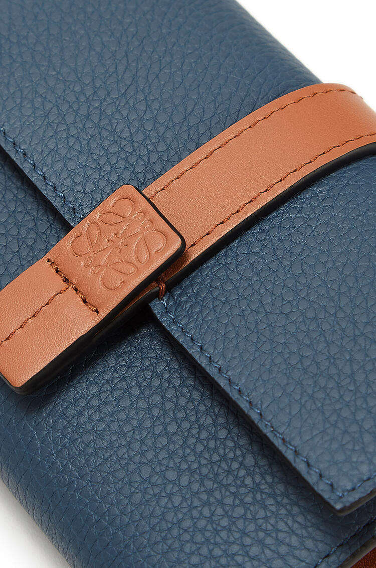LOEWE Small vertical wallet in soft grained calfskin Steel Blue/Tan pdp_rd