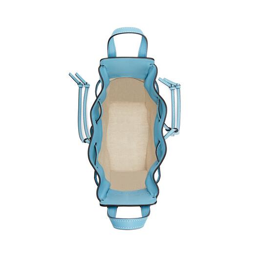 LOEWE 迷你经典小牛皮和睡莲印花帆布 Hammock 抽绳袋 Light Blue/Aqua front
