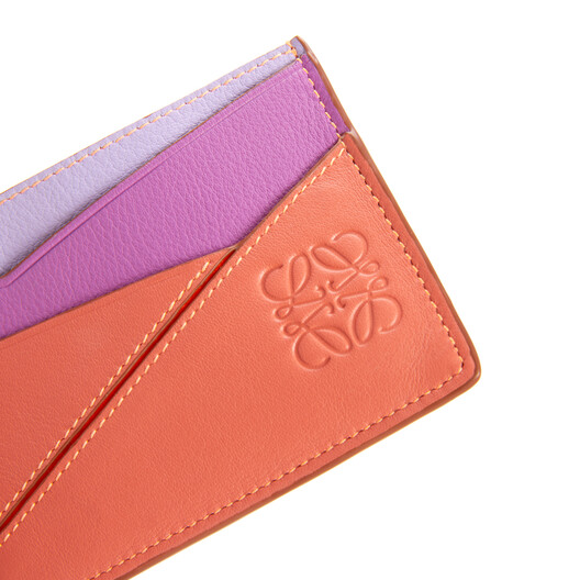 LOEWE Puzzle Plain Cardholder In Classic Calfskin Grapefruit/Mauve front