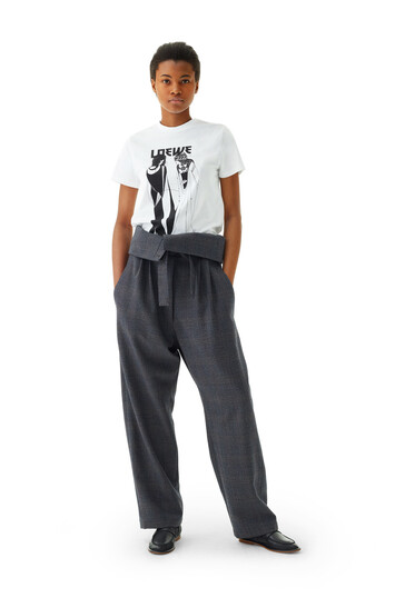 LOEWE Belted Pleated Ov Trousers Grey front