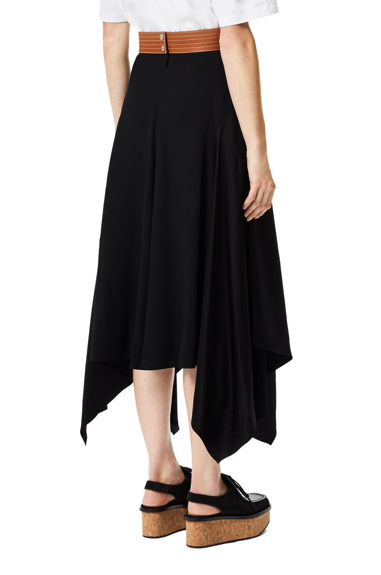 LOEWE Leather waistband midi skirt in acetate and viscose Black pdp_rd