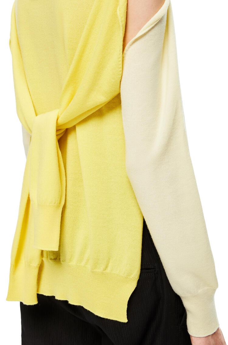 LOEWE Polo collar trompe loeil sweater in virgin wool Yellow/Light Yellow pdp_rd