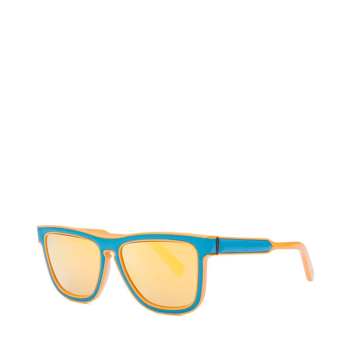 LOEWE Square Padded Sunglasses Turquoise/Mirror Yellow all