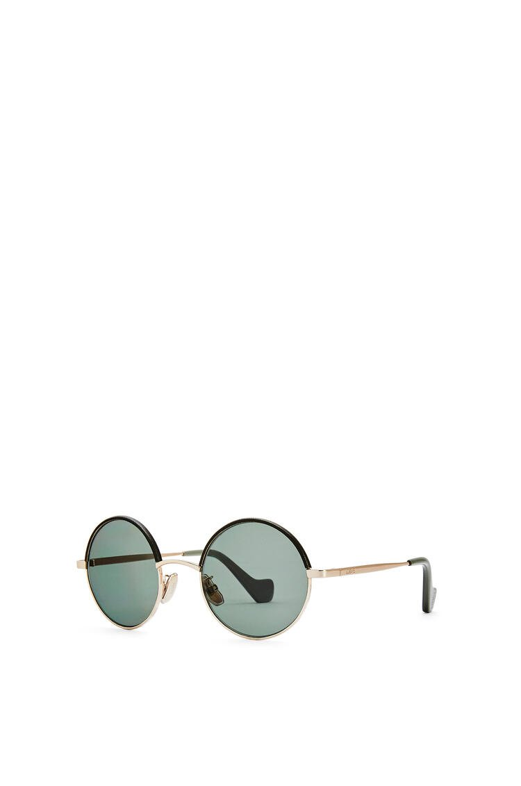LOEWE Small round sunglasses in metal Solid Khaki Green pdp_rd