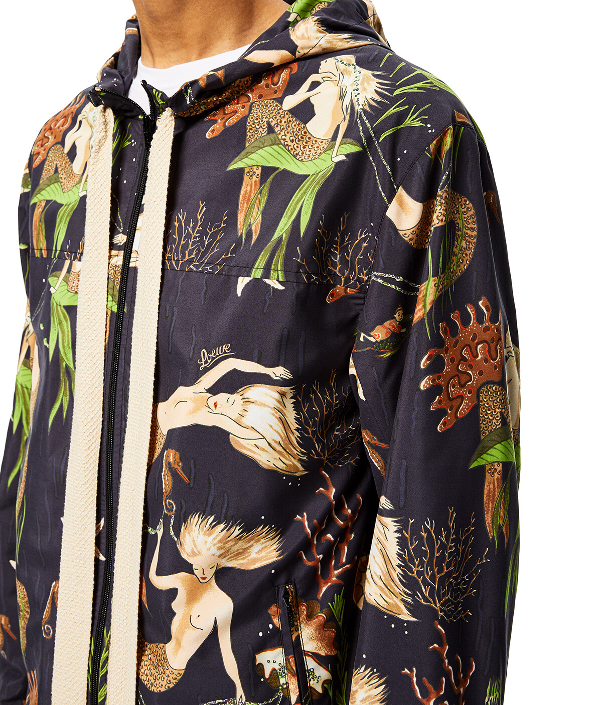 LOEWE Hooded Jacket In Mermaid Polyamide Black front