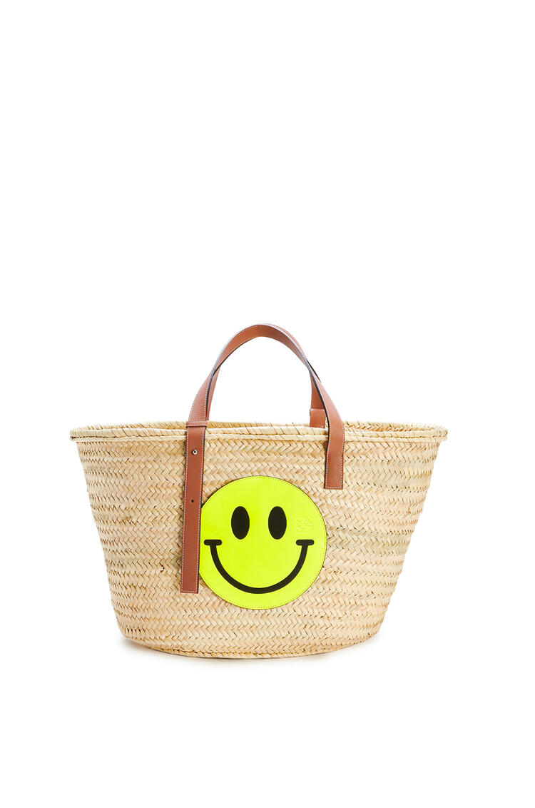 LOEWE Large Smiley basket bag in palm leaf and calfskin Natural/Neon Yellow pdp_rd