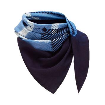 LOEWE 90X90 Scarf Anagram Tie & Dye 靛蓝色 front