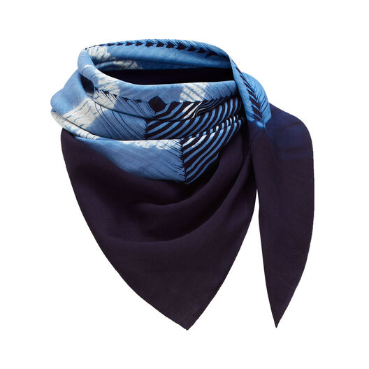 LOEWE 90X90 Scarf Anagram Tie & Dye 靛蓝色 all