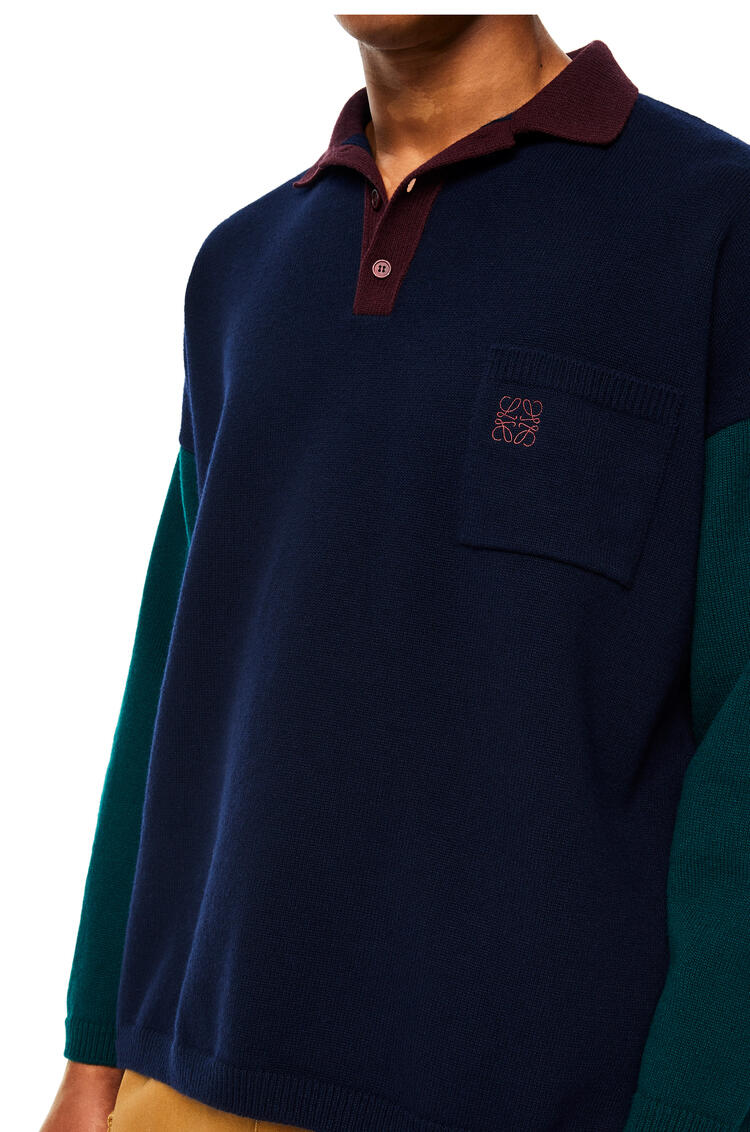 LOEWE Polo collar sweater in wool Navy Blue/Green pdp_rd