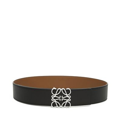 LOEWE Anagram Belt 4Cm Black/Tan/Palladium front