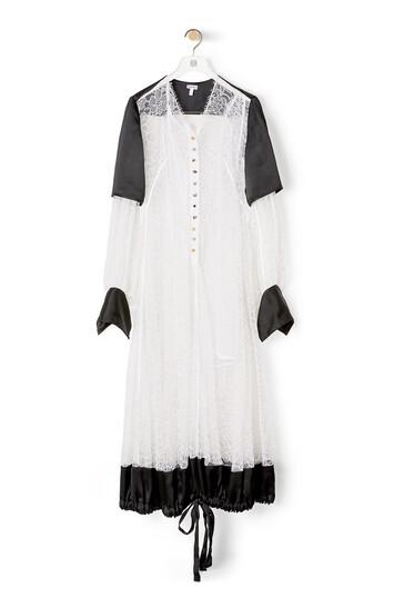 LOEWE Balloon Sleeve Lace Dress White/Black front