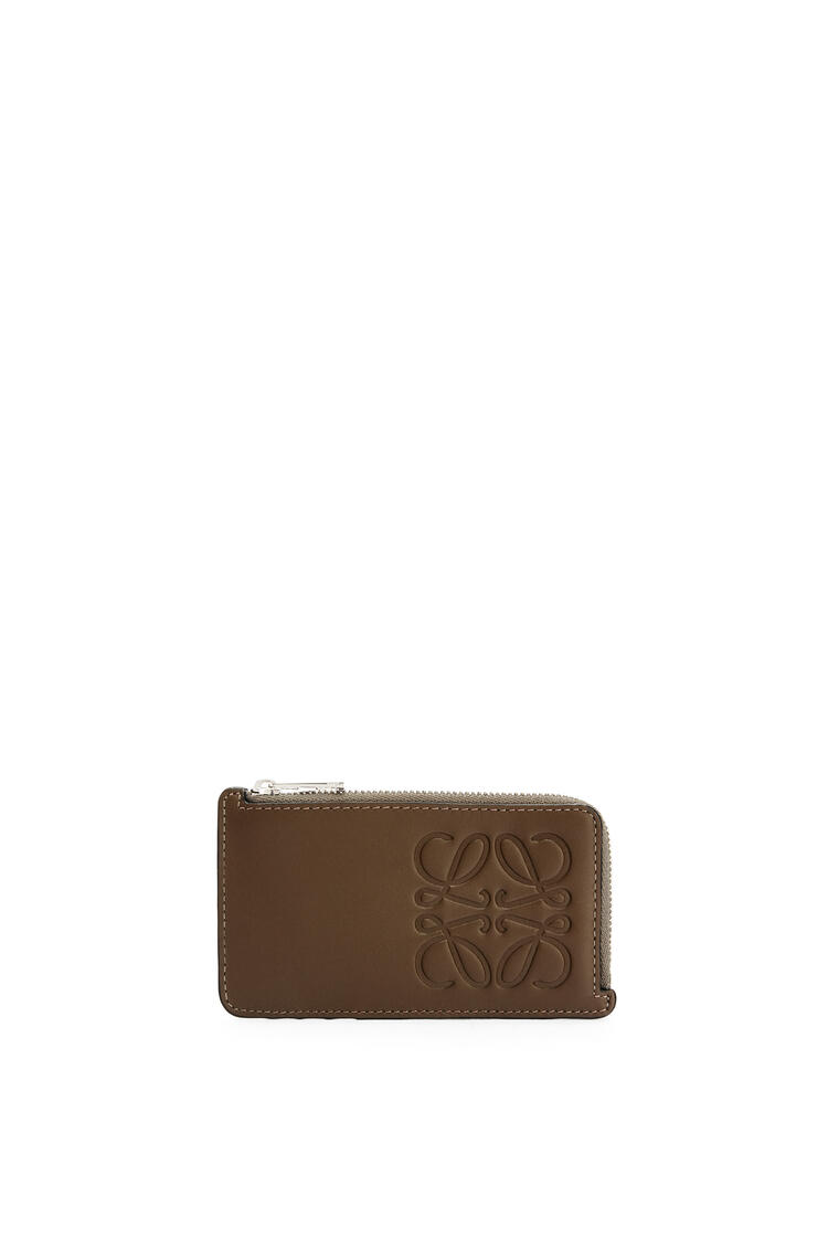 LOEWE Brand coin cardholder in smooth calfskin Khaki Brown pdp_rd