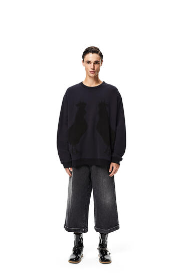 LOEWE Rooster oversize sweatshirt in cotton Navy Blue pdp_rd