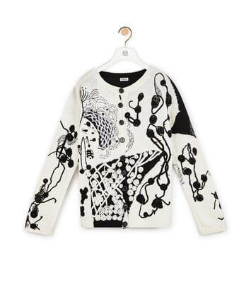 LOEWE Crochet Flower Cardigan White/Black front