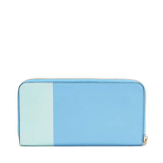 LOEWE Color Block Zip Around Wallet Sky Blue/Mint  front