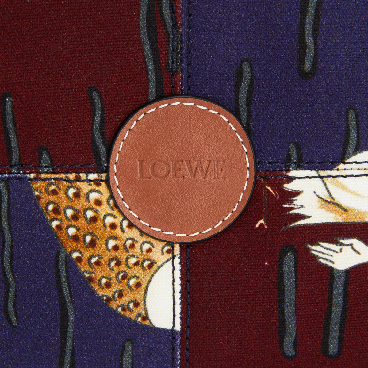 LOEWE Bolso Tote Cushion En Lona Con Estampado De Sirenas Y Piel De Ternera Marino/Burdeos front