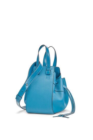 LOEWE Small Hammock Drawstring bag in soft grained calfskin Dark Lagoon pdp_rd