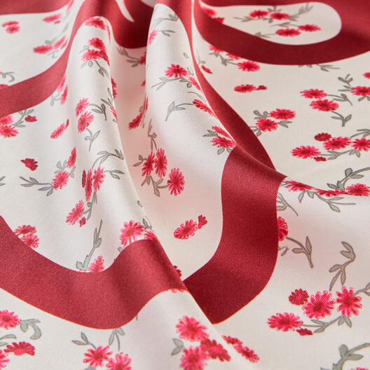 LOEWE 90X90 Flower Scarf Red front