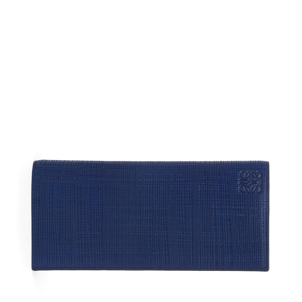 LOEWE Linen Long Horizontal Wallet Navy Blue front