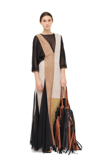 LOEWE Dress Suede Panels & Textile Nutmeg/Gold front