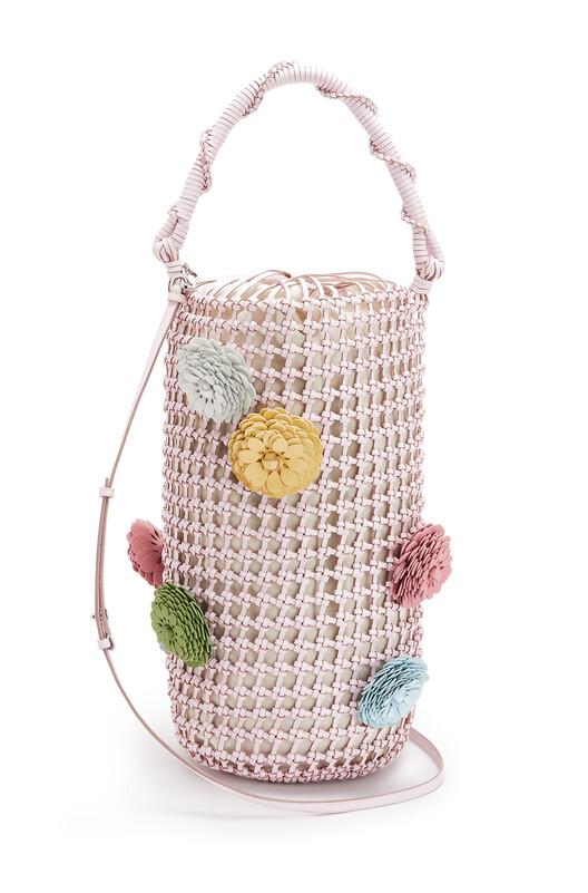 LOEWE Bucket Mesh Flower Bag Icy Pink front