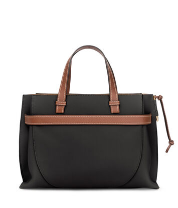 LOEWE Gate Top Handle Negro/Color Pecana front