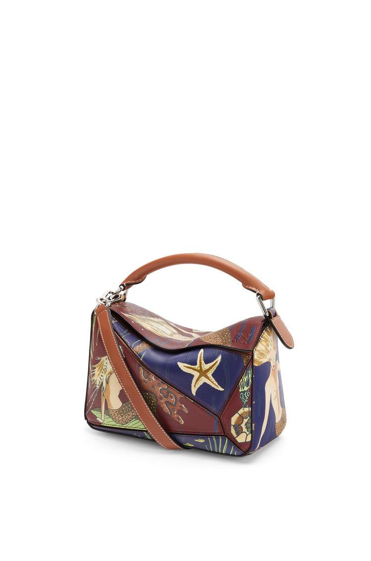 LOEWE Small Puzzle bag in printed classic calfskin Burgundy/Marine pdp_rd