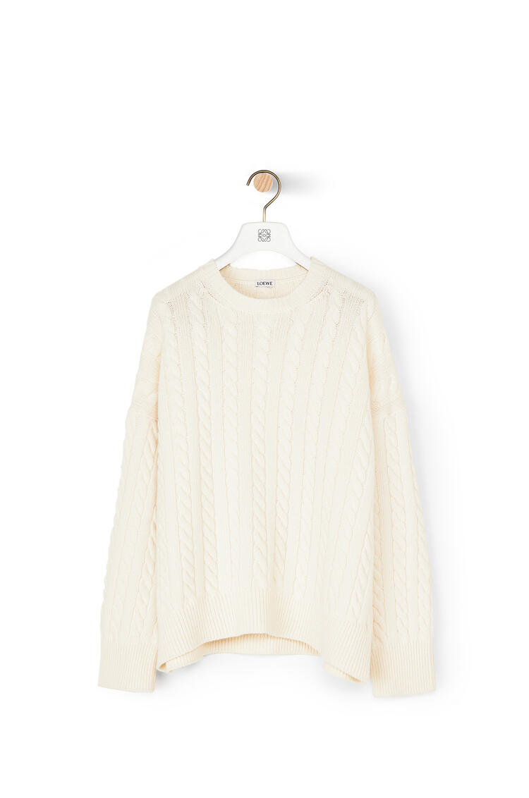 LOEWE Cable Crewneck Sweater In Wool Ecru pdp_rd