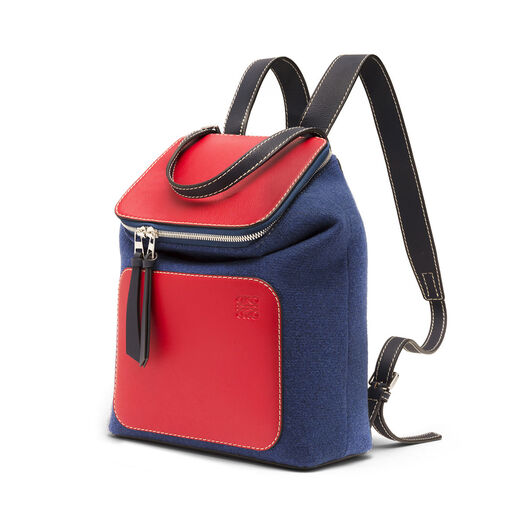 LOEWE Goya Small Backpack Royal Blue/Primary Red all