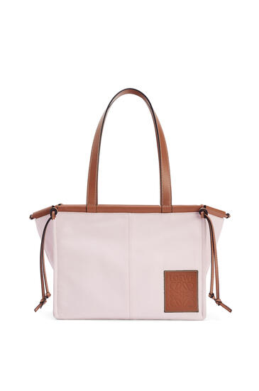 LOEWE Small Cushion Tote bag in canvas and calfskin Light Pink pdp_rd