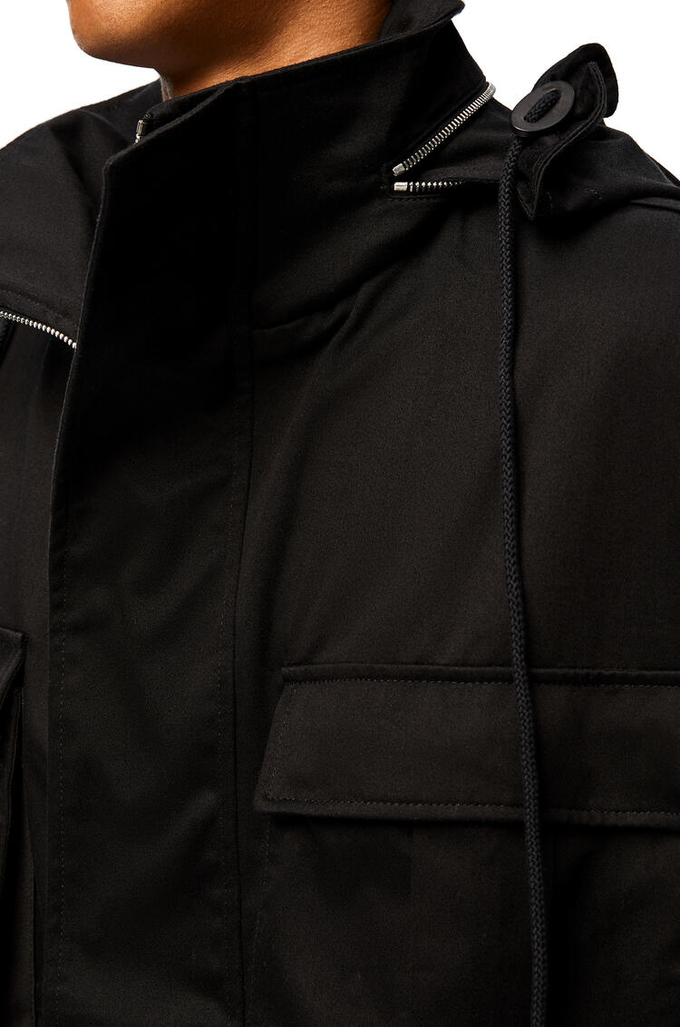 LOEWE Patch pocket hooded parka in cotton Black pdp_rd