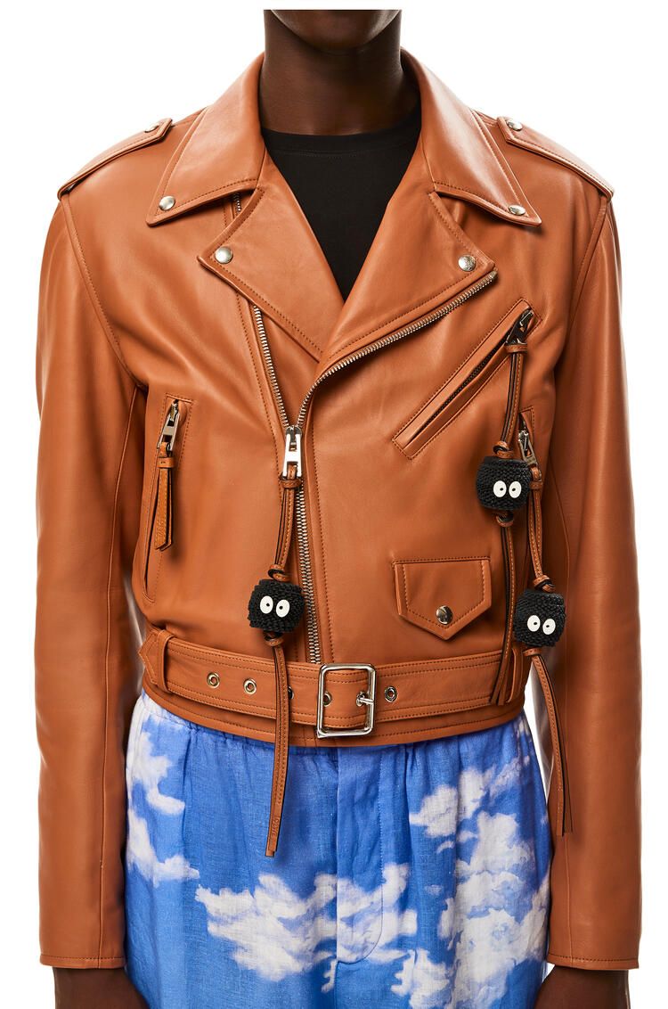 LOEWE Dust Bunnies biker jacket in nappa Tan pdp_rd