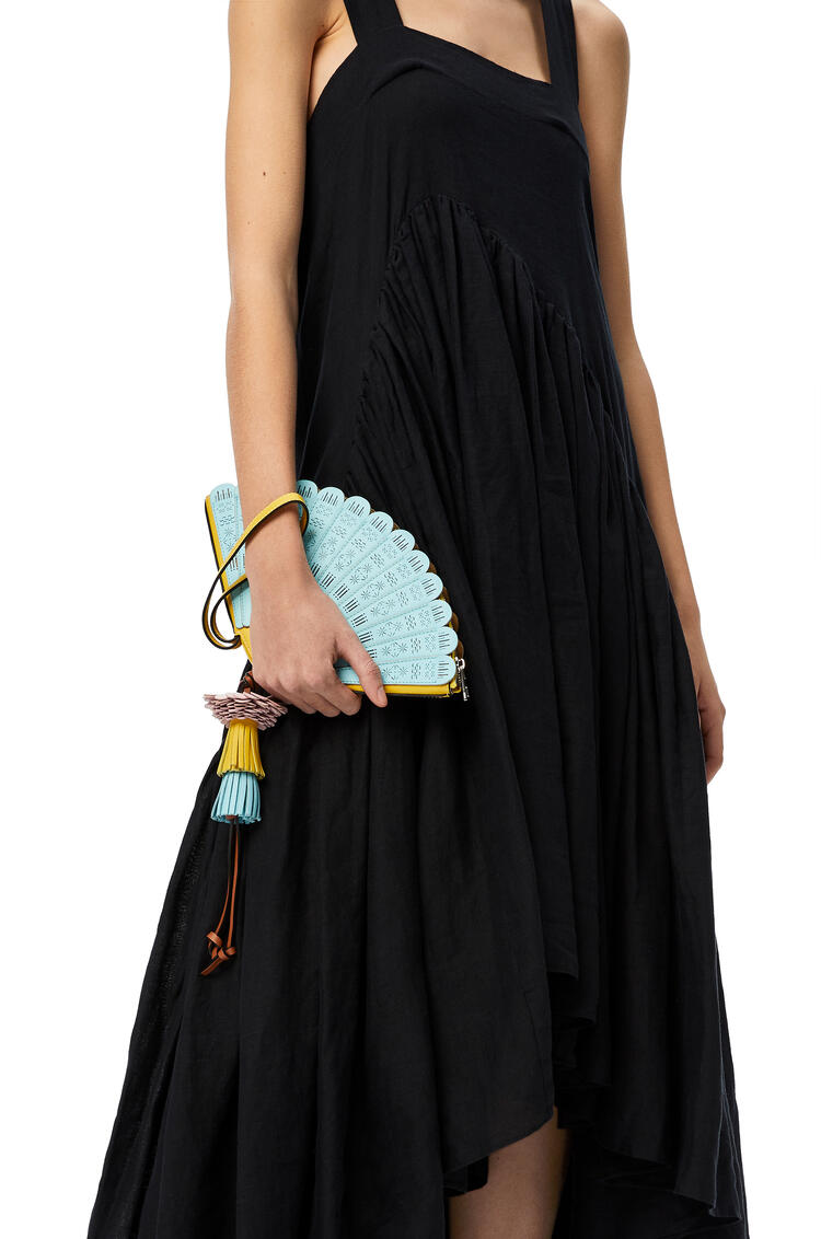 LOEWE Fan Clutch bag in classic calfskin Aqua/Yellow pdp_rd