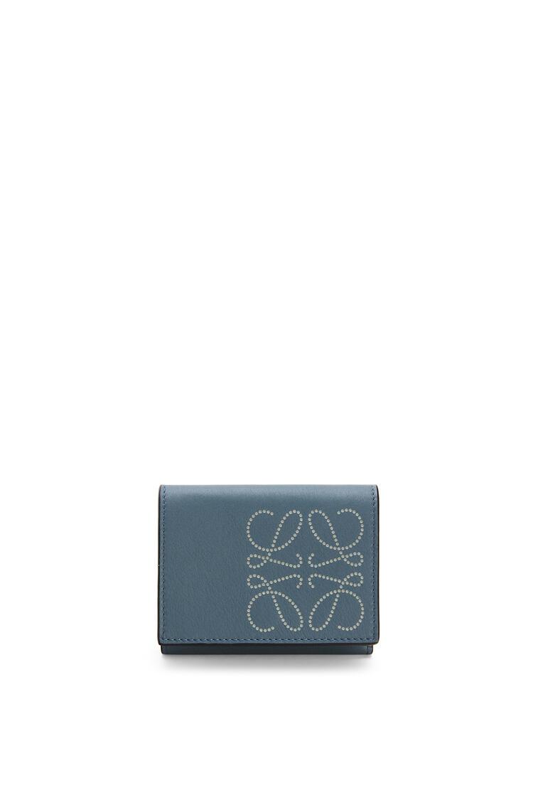 LOEWE Tarjetero tríptico distintivo en piel de ternera Azul Tormenta/Gris Marmol pdp_rd