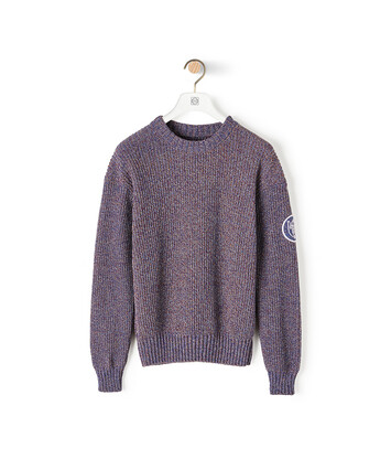 LOEWE Eln Melange Crewneck Sweater ネイビーブルー front