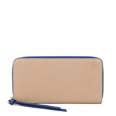 LOEWE Zip Around Wallet Sand/Electric Blue front