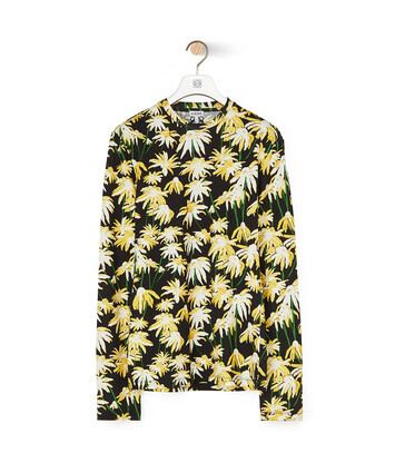 LOEWE Daisy Allover Long Slv T-Shirt Black/Yellow front
