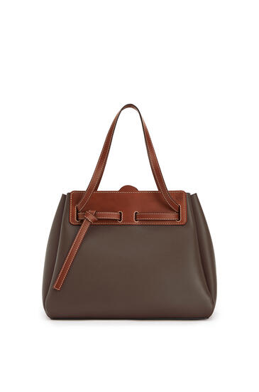 LOEWE Lazo Shopper Bag In Natural Calfskin Dark Taupe/Tan pdp_rd