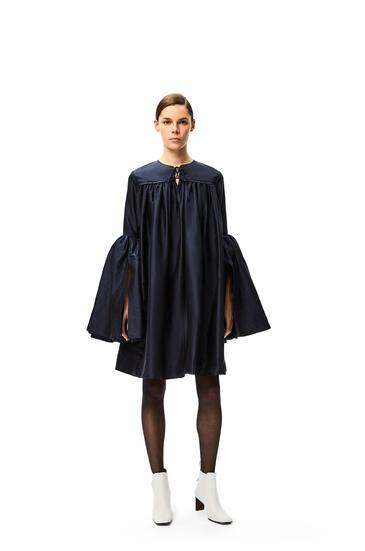 LOEWE Bell sleeve mini dress in silk Deep Sea Blue pdp_rd