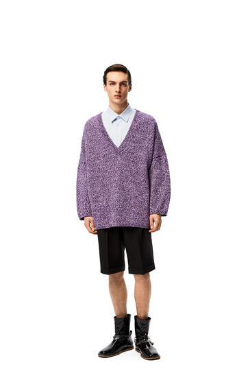 LOEWE V neck oversize sweater in wool Purple/White pdp_rd