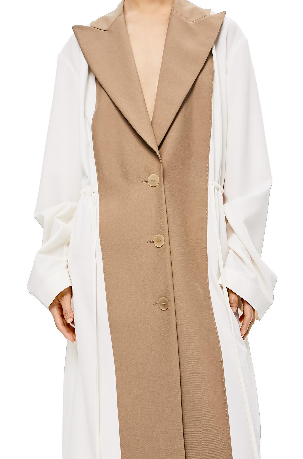 LOEWE Peak Lapel Bimaterial Coat White/Beige front