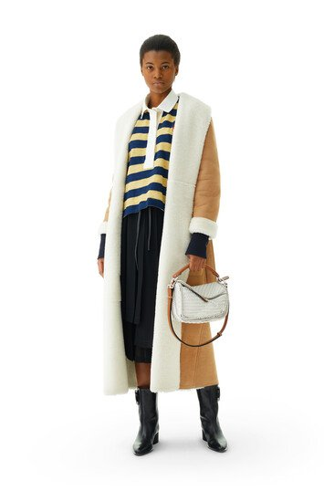 LOEWE Long Shearling Coat Camel front