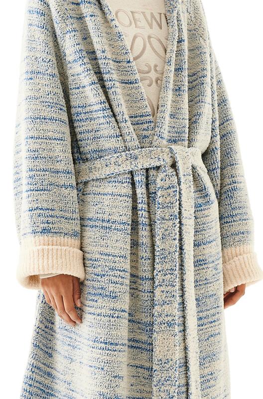LOEWE Hooded Knit Robe Coat Blue/Beige front